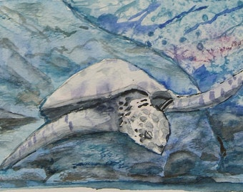 "This is a print of my original  watercolor painting titled ""Majestic Sea Turtle  -closeup"".5x7,8x10,11x14,wrapped canvas, note cards"