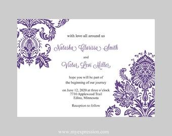 items similar to hochzeit einladung vorlage lila silber