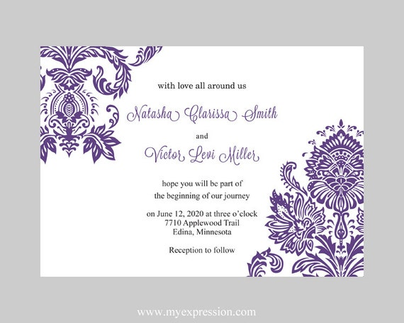Wedding Invitation Template Purple Damask Instant Download