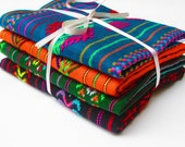 Mexican fabric, Aztec fabric, Mexican Fabric Bundle, tribal fabric by the yard,colorful tribal fabric by the yard. embroidered fabric
