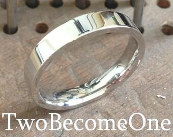 3mm Mens Palladium Flat Court Shape Handmade Wedding Ring / Band / 3.8g