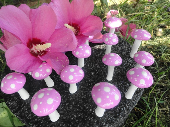 beautiful set of 20 wedding terrarium mushrooms 2 inchs tall indoor outdoor use planter patio favor topper