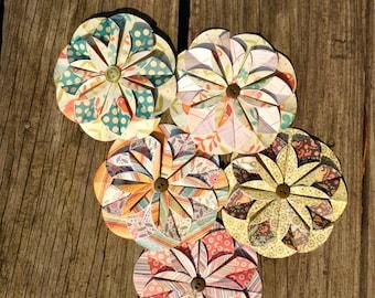 Vintage Paper Flowers (Set of 5)