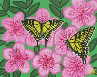 Yellow Tigertail Butterflies Original Canvas Painting Sale!