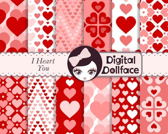 Valentine's Day Digital Paper, Pink and Red Heart Patterns, Scrapbook Paper