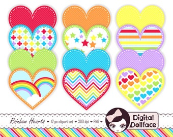 Digital Heart Clipart, Stitched Rainbow Clip Art, PNG Images, Cute Graphics