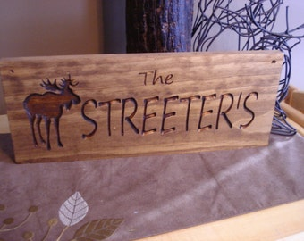 Custom Wood Carved Last Name Address Plaque Wooden Signs Rustic Carved Moose Cabin Lodge Camp Signs Personalized Wooden Sign Benchmark Signs