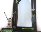 Large Wall Mirror - Painted Furniture - Eco Friendly Mirror - Rustic - Blue - Tribal - Nursery Decor Furniture