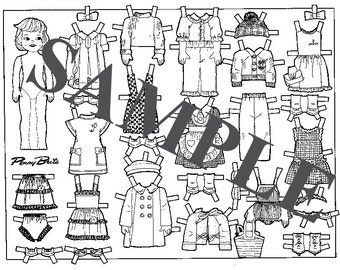 Paper Dolls _ Vintage Penny Brite Doll _ PDF _ Digital Download + BONUS How-To Guide _ Coloring Book Style