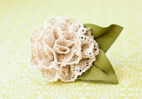 Crocheted Lace Rose Brooch