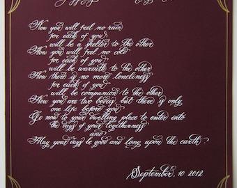 Custom Calligraphy poetry quote weddings valentines verse
