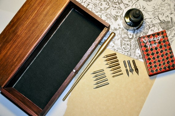 ULTIMATE Vintage Copperplate Pen Set: Gillott, Esterbrook, Spencerian with Box, Ink and Holder
