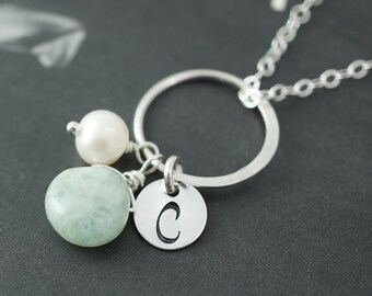 Gift set of 8 Personalized necklaces, Birthstone & initial, Eternity necklaces, Silver initial necklaces for bridesmaids