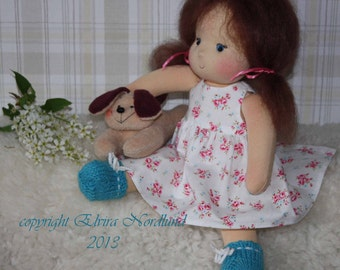"""12 """" / 30 cm Soft Textile Cloth Doll in Roses Print. Child friendly."""