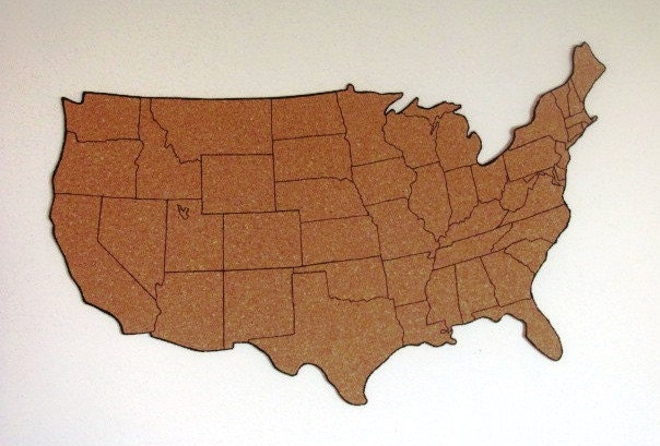 Corkboard map of US with outline of