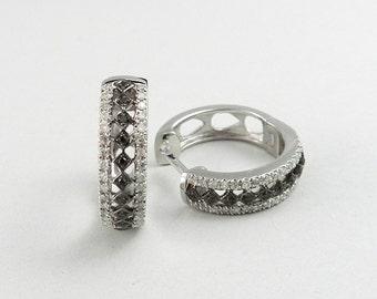 Sterling Silver Genuine Diamond  Hoop Earring