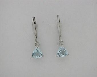 Natural Aquamarine Dangle Earrings Solid 14kt White Gold