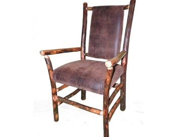 Rustic Hickory Captain's Dining Chairs with Upholstered seat and back shown with Faux Leather Fabric