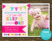 Button Birthday Invitation - Printable - FREE pennant banner and thank you card with purchase