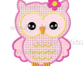 Cute flower owl applique machine embroidery design digital pattern