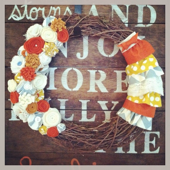 Teal and orange grapevine wreath, ruffled wreath, chevron wreath, orange wreath, teal wreath, felt flower wreath, burlap wreath