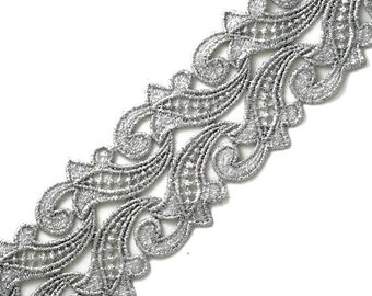 Metallic Lace Trim for Bridal, Costume or Jewelry, Crafts and Sewing, 3 Inch by 1 Yard, LP-1316