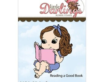 Reading a Good Book (Cutie Pies collection) - unmounted rubber stamp by Little Darlings Rubber Stamps