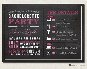 Bachelorette Invitation - Bachelorette Party Invitation, Bachelorette Itinerary, Girls Weekend, Chalkboard Invitation Template - Printable