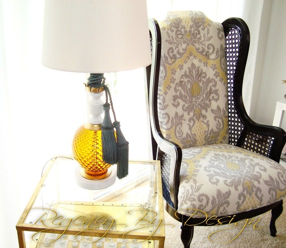Lewittes Cane Wing Chair Vintage