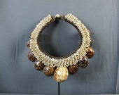New Guinea Tribal Necklace Of Large Brown Shells On Plaited Rope