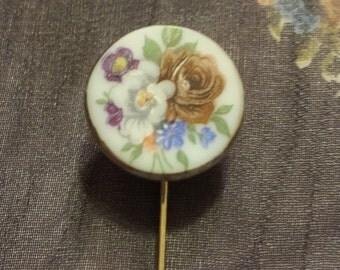 Vintage Floral Ceramic Straight Pin