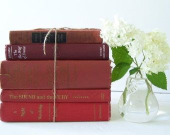 FREE SHIPPING Vintage Book Collection in Yummy Reds