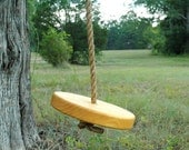 Salvaged Wood Round Wooden Tree Swing with Rope - Child's Tree Swing - Rope Swing