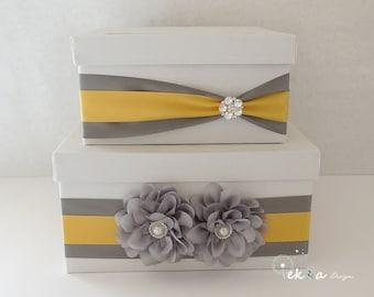 Wedding gift card box / wedding card box / money box / card holder /  2 Tier (White & Metal Grey / Yellow)