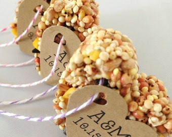 50 Bird Seed Heart Shaped Favor - Wedding and Events - Bird seed favors