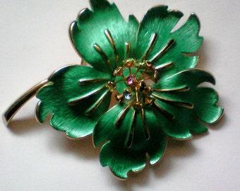 Enameled & Rhinestone Flower Brooch - 3123