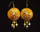 Hand made copper and pearl  dangle  earrings by Lanoras Designs Place.