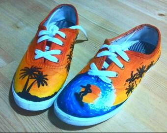 Custom Sunset Beach Surf shoes