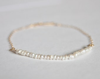 Petite handmade freshwater pearl and gold filled chain bracelet with handmade clasp minimalist
