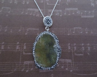 Green Drusy Quartz and .925 Sterling Silver Necklace, One of a kind Statement Necklace
