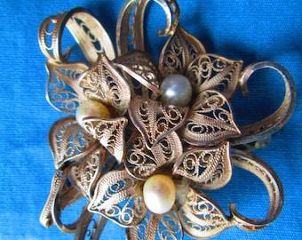 Vintage Silver Pearl Filigree Brooch