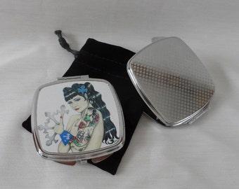 Burlesque / pinup / Dita / corset compact, double mirror with velvet pouch