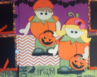 """Halloween """"our lil punkin"""" Premade 2-12x12 Paper Piecing Scrapbook Pages"""
