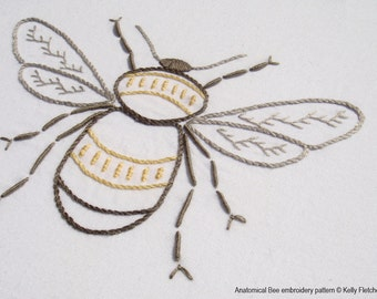 Anatomical Bee modern hand embroidery pattern - modern embroidery PDF pattern, digital download