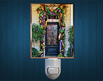 Night Light, Mardi Gras Doors, New Orleans Mardi Gras, Handmade, Copper Foiled