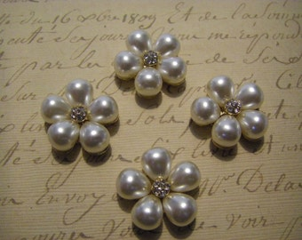 Pearl and rhinestone flower flatback buttons