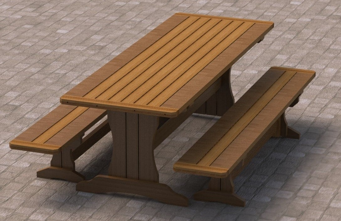 Trestle Style Picnic Table With Benches Woodworking Plans