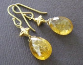 18K Gold Golden Sapphire Earrings