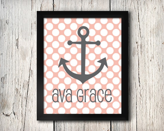 Personalized Nautical Wall Decor : Printable nautical wall decor personalized polka dot by
