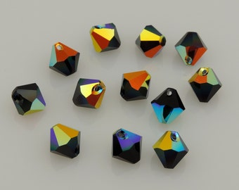 Swarovski Crystal Top Drilled Bicone Beads, Jet Aurora Borealis, Article 6301, 12 pcs. 8 mm Pendants